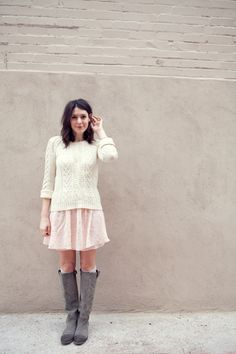 outfit inspiration for one day this week - new peach dress, mom's white sweater, grey boots
