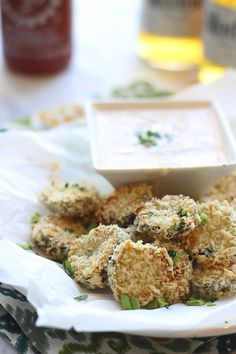 """Fried"" Pickles with Homemade Sirracha Ranch. ☀CQ #appetizers  #superbowl   http://www.pinterest.com/CoronaQueen/appetizers-and-football/"