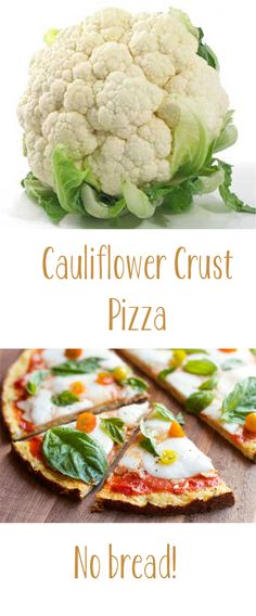 NO bread! #Cauliflower crust #pizza - low carbs! Wow, this looks good! Definitely will try soon.