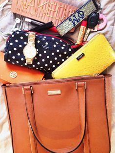 "recklessprepp:  Here's ""What's in my bag""! Handbag, Wallet, Makeup Bag & Watch:  Kate Spade Sunglasses Case: Tory Burch Key Chain: Viney..."