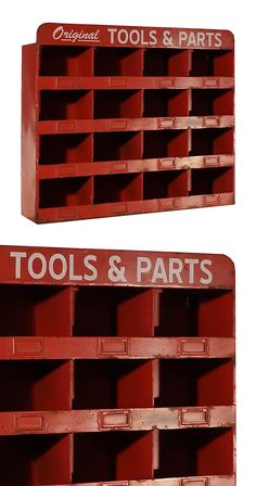 Bring a little bit of shop into your home with this vintage-inspired accent. It'll give living rooms and offices a bold, industrial touch; workshops and offices will get a bite of authenticity. With ch...  Find the Machinist Red Cubbies, as seen in the Gifts for Him Collection at http://dotandbo.com/collections/holiday-gift-guide-gifts-for-him?utm_source=pinterest&utm_medium=organic&db_sku=113334