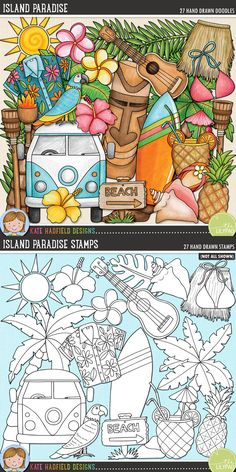 Island Paradise digital scrapbooking elements. Cute tropical summer clip art. Hand-drawn illustrations for digital scrapbooking, crafting and teaching resources from Kate Hadfield Designs!
