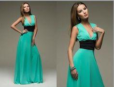 vestidos 2015 summer new fashion women sexy Deep V-neck sleeveless solid color chiffon long maxi dress with belt