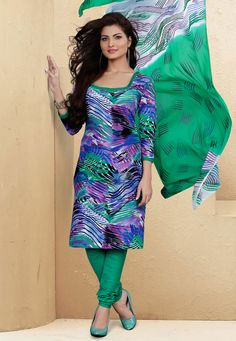 Look fresh and vibrant wearing this #Blue-Green Color Cotton Designer #SalwarKameez which is accompanied with a matching dupatta and bottom. The suit features eye catching abstract print and ruffled yoke.