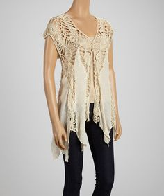 Beige Crochet & Chiffon Sleeveless Top -- So romantic and breezy! I would wear this everywhere.