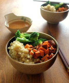 Broccoli, Sweet Potato, and Quinoa Bowl with Lemon-Miso Dressing