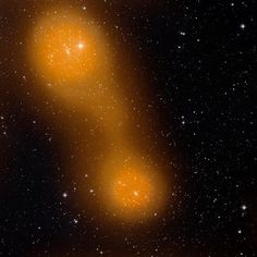Planck discovers filament of hot gas linking two galaxy clusters. This image shows the two galaxy clusters Abell 399 and Abell 401, which can be seen in the upper left corner (Abell 401) and in the central lower portion of the image (Abell 399), respectively.  ESA Planck Collaboration; Optical image: STScI Digitized Sky SurveI. #cosmos #astronomy #space  #universe