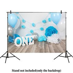4008c874a1c Allenjoy 7x5ft photography backdrops baby boys 1st Birthday blue balloons  flowers party banner baby shower photo
