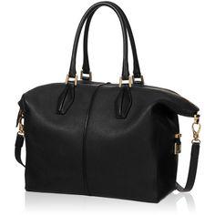 Tod's - Tod's D-Cube Medium Bowler Bag ($780) ❤ liked on Polyvore featuring bags, handbags, black, genuine leather purse, black purse, bowler handbag, real leather purses and round handbag