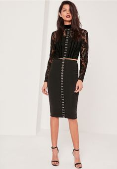 High Neck Lace Eyelet Front Crop Top Black - Missguided