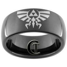 8mm Tungsten Carbide Dome Legend of Zelda by CustomTungsten, $49.00