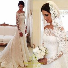 White Lace Off The Shoulder Sheer Long Sleeve Wedding Dress With Train | Vampal Dresses