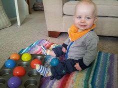 Hours of entertainment with a muffin tin and plastic balls for my 10 month old. Teaching Babies, Baby Learning, 7 Month Old Baby Activities, Infant Activities, Activities For Kids, 10 Month Olds, Baby Month By Month, Baby Development, Baby Games