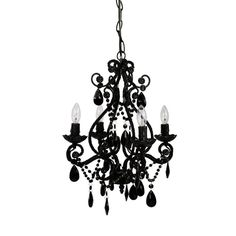 A beautiful 4 bulb chandelier is the perfect finishing touch to any room - even the powder room! This lovely vintage-style metal framed chandelier has glass and acrylic beads and dangles, and uses four 25 watt candelabra bulbs. Cheap Chandelier, White Chandelier, Chandelier Shades, Chandelier Lighting, Gothic Chandelier, Bathroom Chandelier, Kids Lighting, Halloween Chandelier, Acrylic Chandelier