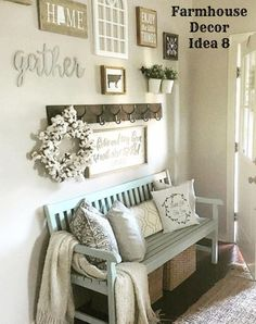 DIY decorating ideas - country farmhouse style decor ideas for the foyer. Beautiful gallery wall / accent wall too! Not exactly minimalist lifestyle but I love it!