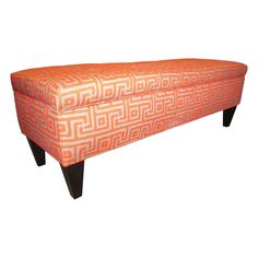 Add extra seating to any room with this stylish storage bench. This button-tufted bench features a wood frame and an eye-catching print. This lovely piece opens for storage, and it is supported by durable wooden legs with an espresso finish.