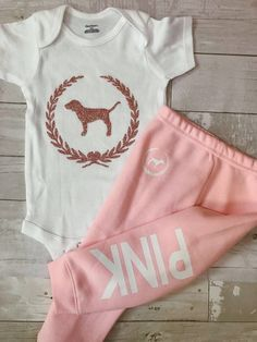 Toddler Baby Girls Love Pink Size 3T Fall Winter Sweatpants Clothes Outfit Sets