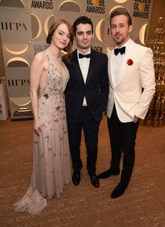 Inside the Golden Globes: Emma Stone in Valentino, Damien Chazelle, and Ryan Gosling Celebrity Movie Archive, Celebrity Look, Golden Globe Award, Golden Globes, Gala Dresses, Nice Dresses, Damien Chazelle, Actress Emma Stone, Cocktail Gowns
