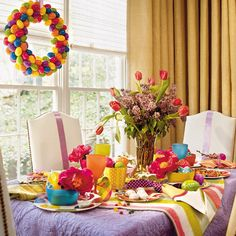Fun Easter colors overall with a plastic egg wreath.