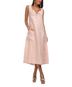 Another great find on #zulily! Light Pink Button-Front Linen Midi Dress #zulilyfinds