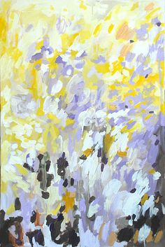 Michelle Armas, painting: yellow, lilac and black