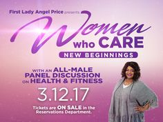 Join First Lady Angel immediately following service on Sunday, March 12, 2017 for an all-male panel discussion on Health and Fitness featuring Mike Carey, Marcel Byes and Craig Green. Lunch will be served.  Tickets are $5 and on sale in the Crenshaw Christian Center Reservations Department.    To purchase tickets call (323) 758-3777, Ext. 4228 or stop by the Reservations Department on Sunday.