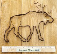 Moose- Hand made rustic barbed wire art sculpture