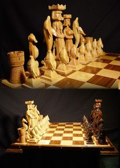 Handmade Atlantis Chess Set on etsy, custom carved  chess sets