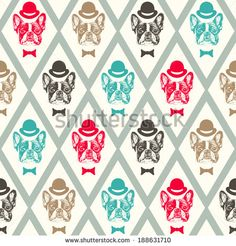 French Bulldog Seamless Pattern Banco de ilustração vetorial 188631710 : Shutterstock