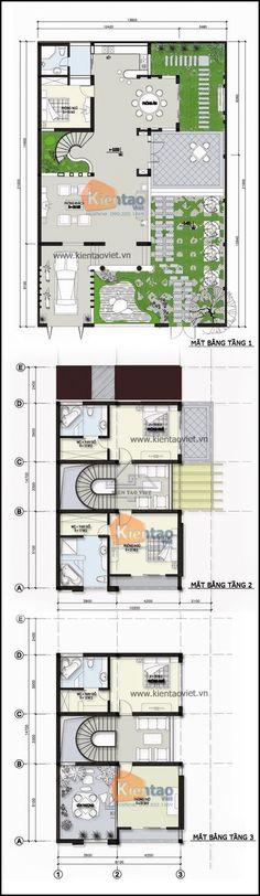 Mặt bằng kỹ thuật tham khảo dành cho mẫu nhà biệt thự đẹp 3 tầng 150m2, Thiết kế nhà đẹp hiện đại