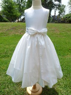 First Communion dress, flower girl, special occasion dress, white or ivory silk dupioni. Pettiskirt included. Custom size.. $155.00, via Etsy.