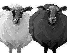 Black & White Sheep - Graphic Style - Giclee Print