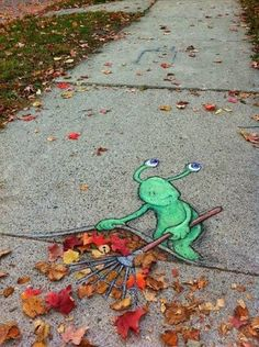 Totally adorable street art. David Zinn Graffiti -- I found this to be really unique. If only I could rake my leaves under the cement! STREET ART COMMUNITY » We declare the world as our canvas. www.moderncrowd.com/reverse-graffiti-street-art