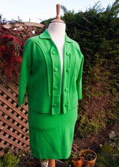 fc74522028a33 True Vintage 1960s Bright GREEN Mod Jacket Mini Skirt Suit UK 18 Large Size  by UpStagedVintage