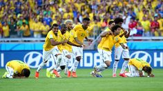 Brazil players rush to celebrate, 2014 FIFA World Cup Brazil™: Brazil-Chile - Photos - FIFA.com
