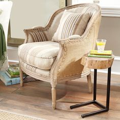 Wisteria - Furniture - Shop by Category - Chairs - Striped Linen Gondola Bergère