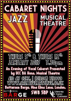 Thursdays Jan 5th & 12th Colchester Institute Year 3 BA Musical Theatre perform at the Battersea Barge! The evening will be packed with solo cabaret spots and a wide range of repertoire across musical theatre & jazz. Buy your tkts at http://creativeartslive.colchester.ac.uk/events.