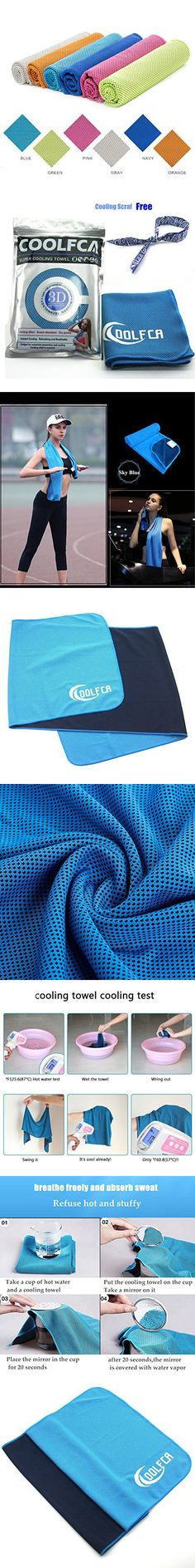 40 12 Snap Cooling Towel Summer Ice Cooling Sweat Sports Towel Stay Cool for BowlingGym, Yoga, Pilates, Travel, Camping Fitness Sports Outdoors And Free Of Charge One Cooling Scarf (sky blue)