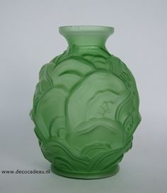"""For Sale """"Belgium"""" Vase Scailmont pressed glass to design Charles Catteau about 1924. Vase is marked with the text """"Ch. Catteau, made in Belgium Scailmont"""" in the glass. Fore Sale. *België"""" Vaas van Scailmont persglas naar ontwerp Charles Catteau omstreeks 1924. Vaas is gemerkt met de tekst """"Ch. Catteau, made in Belgium Scailmont"""" in het glas verwerkt. Te koop."""