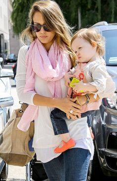 Jessica Alba   soft pink scarf