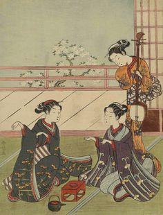 Girls Playing the Game of Ken.  Woodblock print, 1768, Japan, by artist Suzuki Harunobu