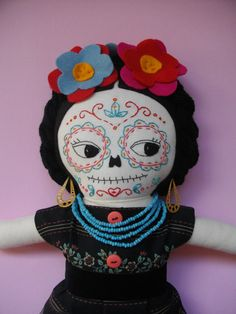 DAY of the DEAD Frida Kahlo Mexican sugar skull cloth doll art doll rag doll - Made to Order on Etsy, $68.88