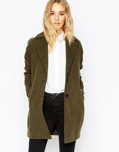 ASOS Ultimate OVERSIZED Long Cocoon Coat / Jacket in KHAKI - UK 18 - EU 46-US 14