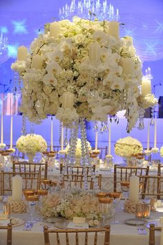 Spectacular floral designs by Preston Bailey. A centrepiece for the wedding of Ivanka Trump, held at the at the Trump National Golf Course in Bedminster, New Jersey. Bailey described the atmosphere as one of 'classic beauty'.