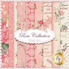 "Rose Collection 8 FQ Set - Blush by Quilt Gate Fabrics: Rose Collection is by Quilt Gate Fabrics. This set contains 8 fat quarters, each measuring approximately 18"" x 21""."