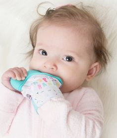 Your baby will love the #Becalm #Baby #Teething #Mitten! It's cute, #innovative and fits over baby's hand allowing them to #self-soothe their itchy, irritated #gums.  An Easy Reach #Teether.  The mitten has an adjustable Velcro strap to ensure that it stays on with a comfortable fit. Ideally suitable for babies between 3 and 12 months old.