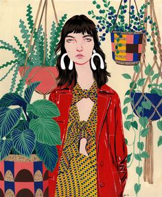 There's an awkward cool factor to Bijou Karman's illustrated subjects that is undeniably alluring. Elongated figures, exaggerated with disproportionate features like big ears and freckles, are perfectly styled in Gucci, Miu Miu, Marni, Proenza Schouler and other designer wares. They're so