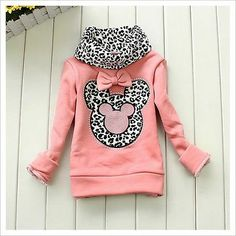 New Toddler Girls Hoodie Coat Kids Cute Minnie Mouse Bow Primer Shirt Costume