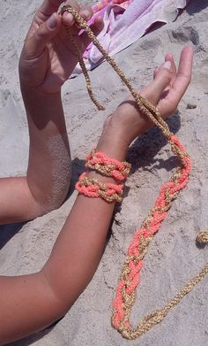Crochet Necklace and Two Bracelets  Orange And Yellow by knittee