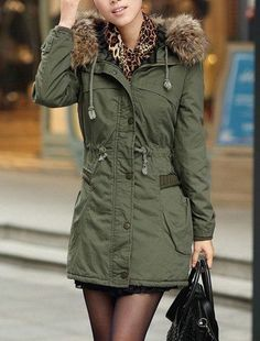 Stylish Long Sleeves Solid Color Drawstring Hooded Coat For WomenCoats   RoseGal.com